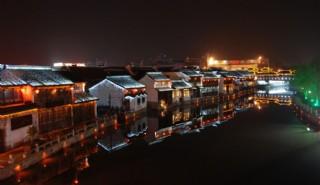 嘉興月河夜景照片圖片
