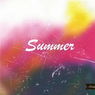 复古水彩夏季背景