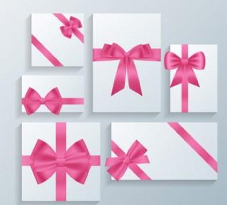 6款粉色蝴蝶結裝飾卡片圖片