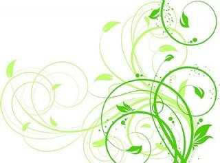 绿色卷曲花纹