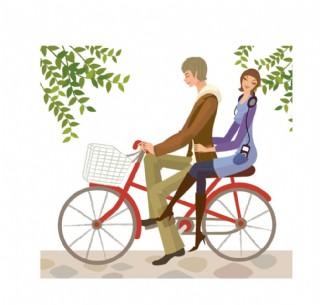 時尚生活男女騎自行車圖片