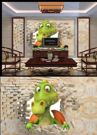3D破墻效果恐龍背景墻