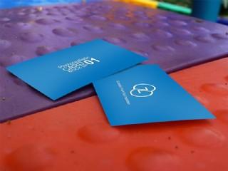 兩張藍色名片樣機