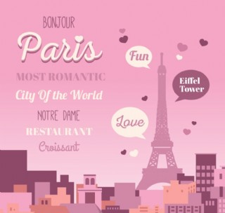 浪漫巴黎埃菲爾鐵塔海報素材
